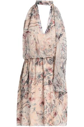 HAUTE HIPPIE Printed silk-crepe halterneck mini dress