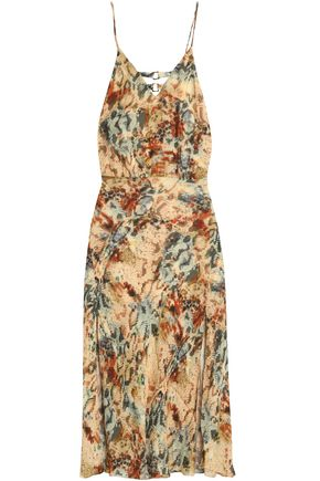 HAUTE HIPPIE Printed silk crepe de chine midi dress
