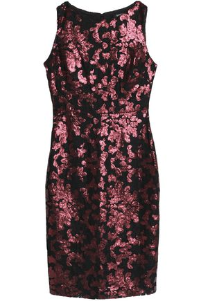 BADGLEY MISCHKA Cold-shoulder stretch-cady dress