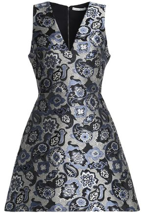 ALICE + OLIVIA JEANS Flared brocade mini dress