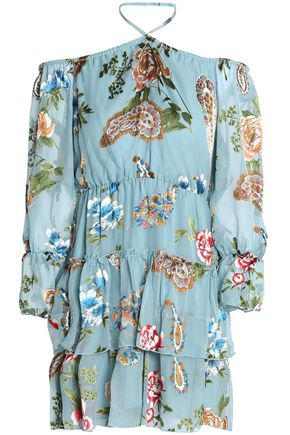 ALICE+OLIVIA Off-the-shoulder printed crepe de chine mini dress