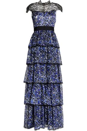ALICE + OLIVIA McKee Chantilly lace-paneled tiered printed silk maxi dress