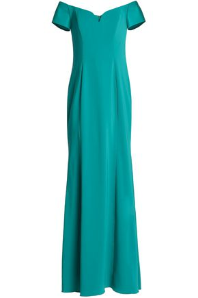 BADGLEY MISCHKA Off-the-shoulder crepe gown