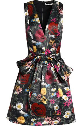 ALICE + OLIVIA JEANS Bow-embellished floral-print satin dress