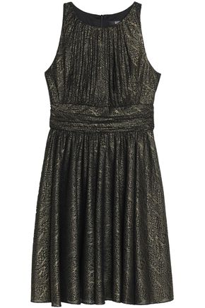 BADGLEY MISCHKA Pleated metallic cady dress