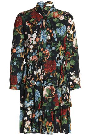ALICE+OLIVIA Breann pussy-bow tiered floral-print crepe mini dress