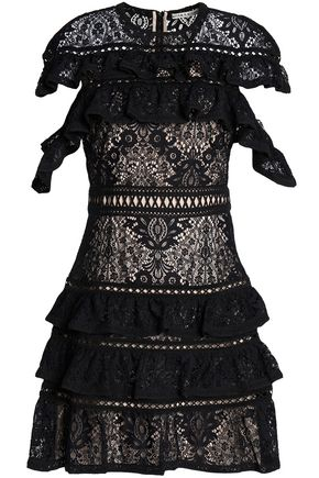 ALICE + OLIVIA Jolie ruffle-trimmed macramé lace mini dress