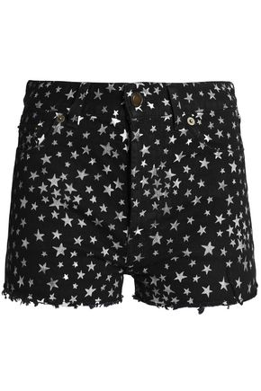 SAINT LAURENT Frayed metallic printed denim shorts