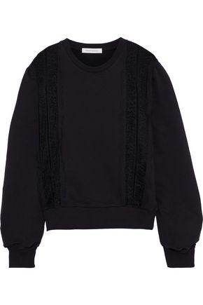 PIERRE BALMAIN Lace-paneled cotton-fleece sweatshirt