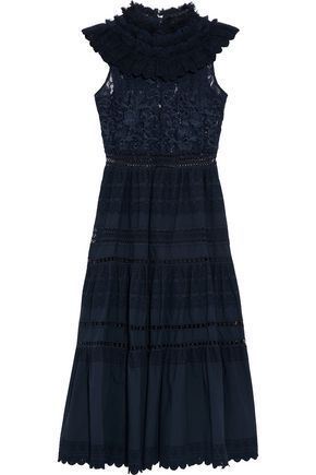 SEA Ruffled lace-paneled cotton broderie anglaise midi dress