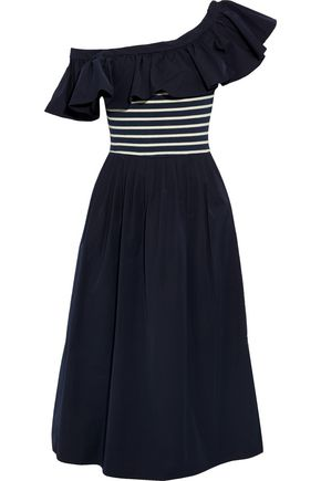 SEA One-shoulder striped intarsia-paneled twill midi dress
