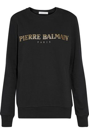PIERRE BALMAIN Metallic printed cotton-fleece sweatshirt
