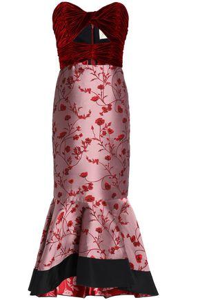 JOHANNA ORTIZ Cutout velvet-paneled jacquard midi dress