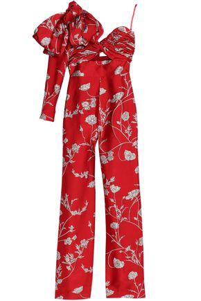 JOHANNA ORTIZ One-shoulder cutout brocade jumpsuit