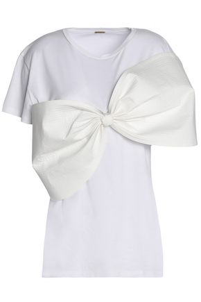 JOHANNA ORTIZ Satin bow-embellished Pima cotton-jersey top