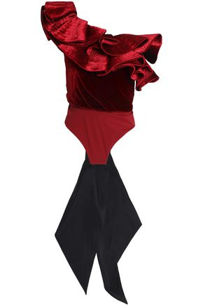 JOHANNA ORTIZ Lorca one-shoulder ruffled velvet and stretch-jersey bodysuit