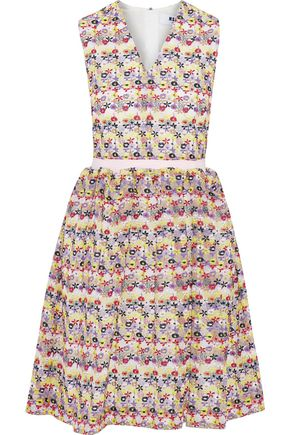 MSGM Embroidered cotton-blend gauze dress