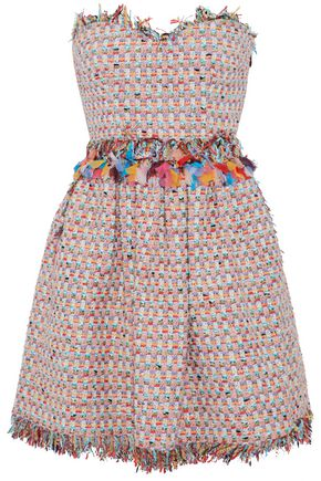 MSGM Strapless gauze-trimmed frayed tweed mini dress