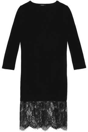 RAOUL Corded lace-paneled merino wool dress