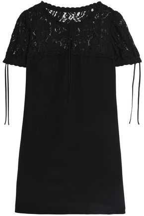 MOSCHINO Lace-paneled silk mini dress