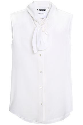 MOSCHINO Pussy-bow silk top