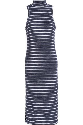 SPLENDID Striped ribbed-knit midi dress