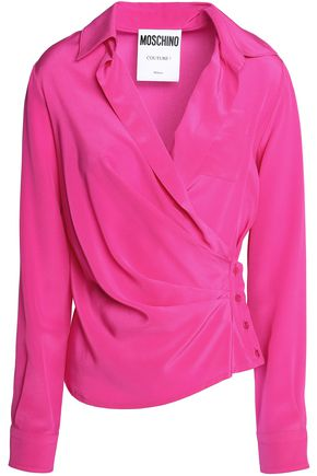 MOSCHINO Wrap-effect silk-satin blouse