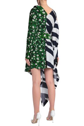 RAOUL Asymmetric striped twill and floral-print crepe dress