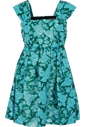 MSGM Pleated brocade mini dress
