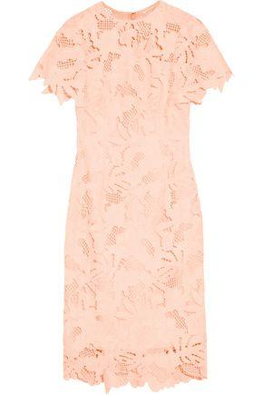 LELA ROSE Ruffled guipure lace dress