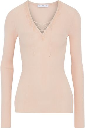 SANDRO Lace-trimmed ribbed-knit top