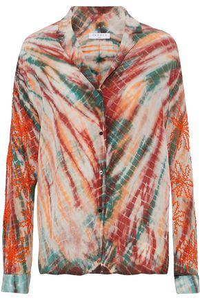 SANDRO Bead-embellished tie-dyed washed-silk shirt