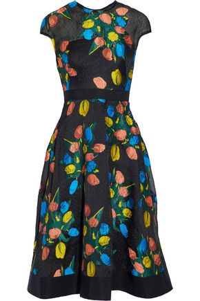 LELA ROSE Grosgrain-trimmed embroidered cloqué dress