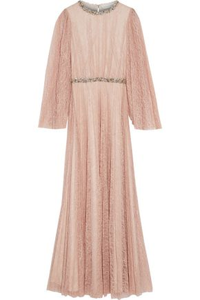 SACHIN & BABI Sequin-trimmed pleated Chantilly lace maxi dress