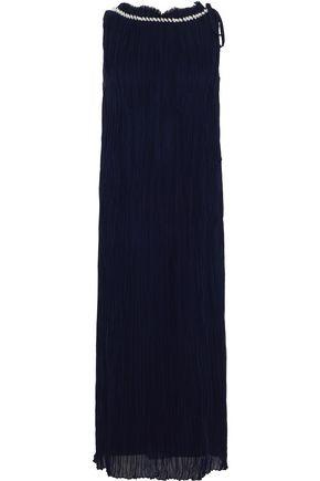 NINA RICCI Shell-embellished plissé silk-chiffon midi dress