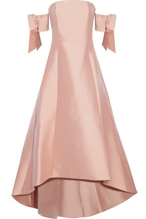 SACHIN & BABI Bengaluru off-the-shoulder bow-embellished duchesse satin-twill gown