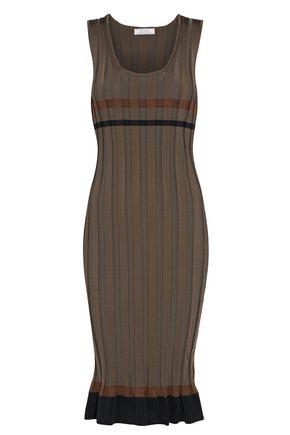 NINA RICCI Striped ribbed-knit dress