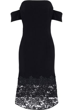 SACHIN & BABI Off-the-shoulder guipure lace-paneled crepe midi dress