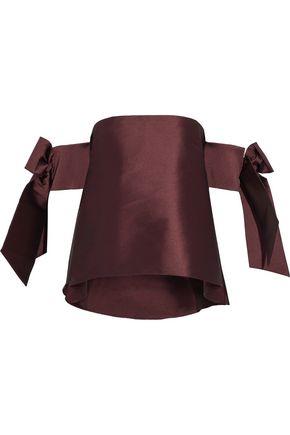 SACHIN & BABI Benita off-the-shoulder bow-embellished duchesse satin-twill top