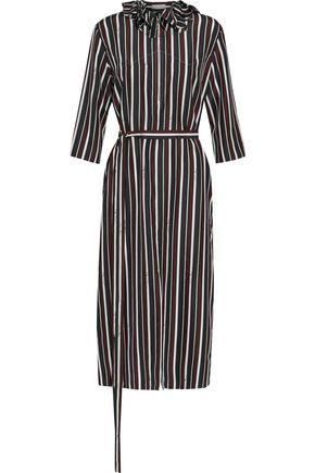 NINA RICCI Ruffle-trimmed striped silk-satin dress