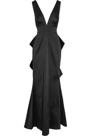 SACHIN & BABI Topanga bow-embellished duchesse satin-twill gown