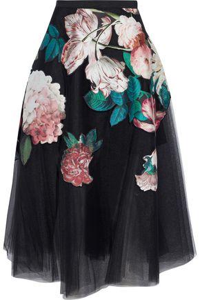 SACHIN & BABI Kamal floral-appliquéd pleated tulle midi skirt