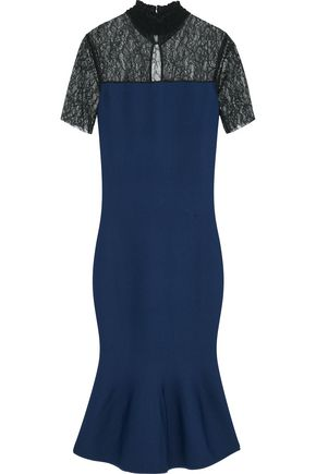 SACHIN & BABI Fluted Chantilly lace-paneled stretch-knit dress