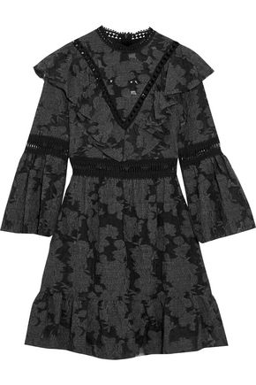 SEA Ruffled crochet-trimmed fil coupé mini dress