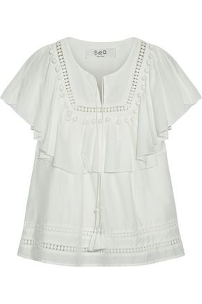 SEA Embellished cotton and silk-blend shirt