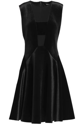 DKNY Crepe de chine-paneled pleated velvet dress