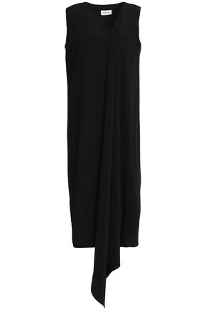 DKNY Asymmetric draped crepe de chine dress