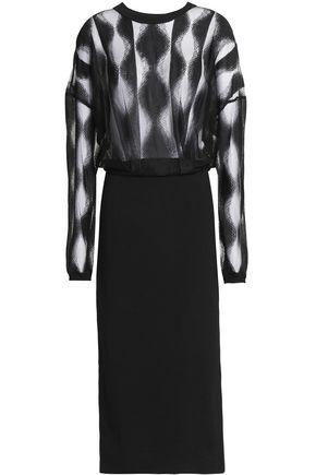 DKNY Mesh and ponte midi dress