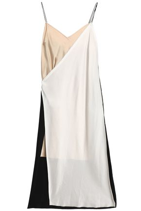 DKNY Layered crepe de chine and satin midi dress