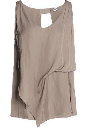 OAK Draped crepe de chine top